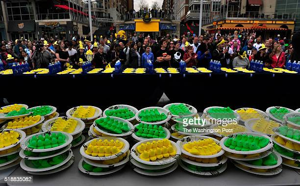 Plates of Peeps are laid out just before the start of the Peep eating competition There was a $3500 prize to the winner in the professional division...