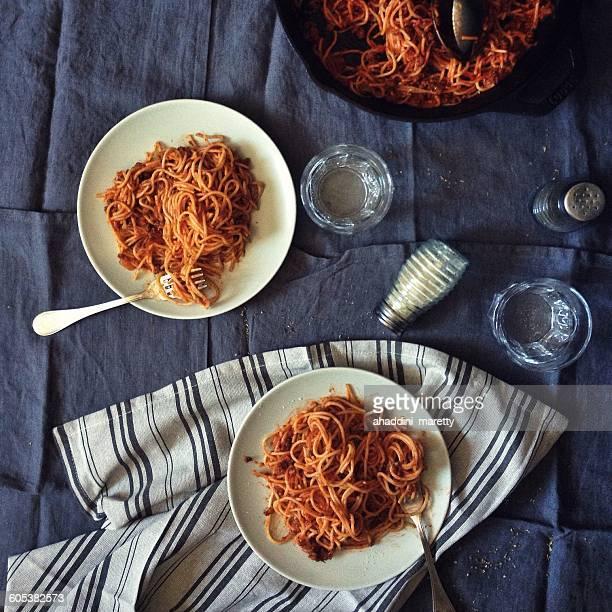 Plates of Spaghetti bolognese