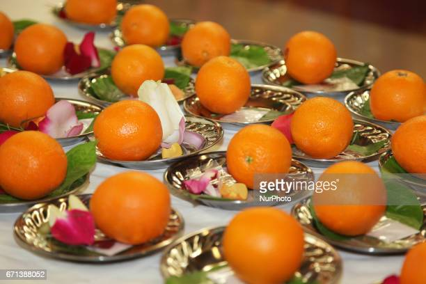 Plates with offerings during the Tamil Hindu New Year at a Hindu temple in Ontario Canada on April 13 2017