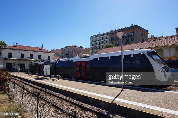 platform and train tracks, station of ajaccio, france - 2016 stock pictures, royalty-free photos & images