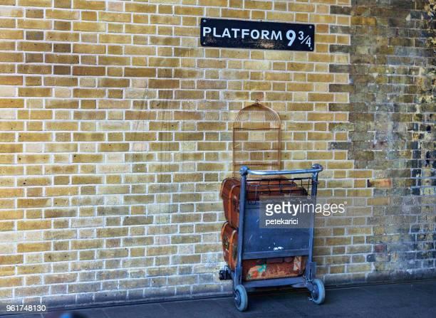 Platform nine and three-quarters at King's Cross station, London