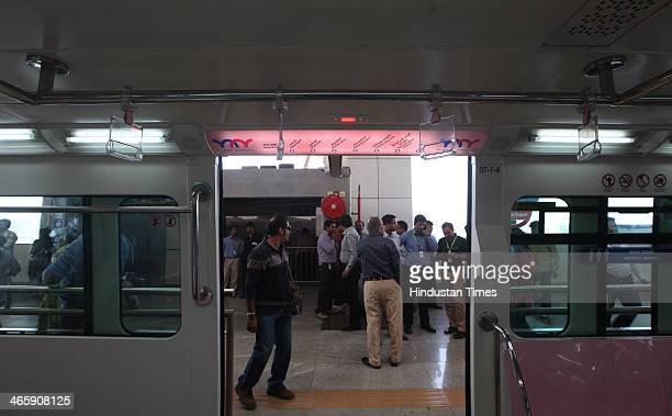 Platform of new Monorail station during trial run on January 30 2013 in Mumbai India The country's first Monorail service will be inaugurated on...
