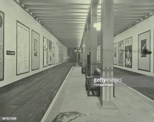 Platform with advertising posters Holborn Underground Tram Station London 1931 Advertising posters on the northbound platform at Holborn Underground...