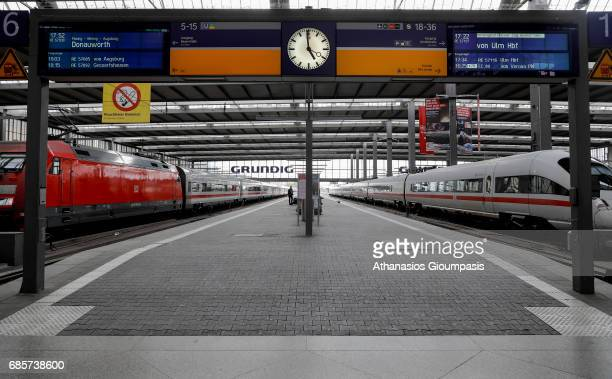 Platforms at Munich main railway station or Muenchen Hauptbahnhof on April 16 2017 in Munich Germany Hauptbahnhof is the main railway station in the...