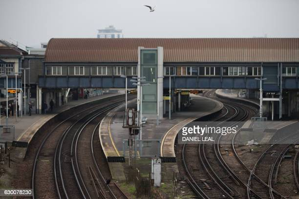 Platforms used by Southern Rail are empty following strike action by staff at Clapham Junction station in London on December 16 2016 Hundreds of...