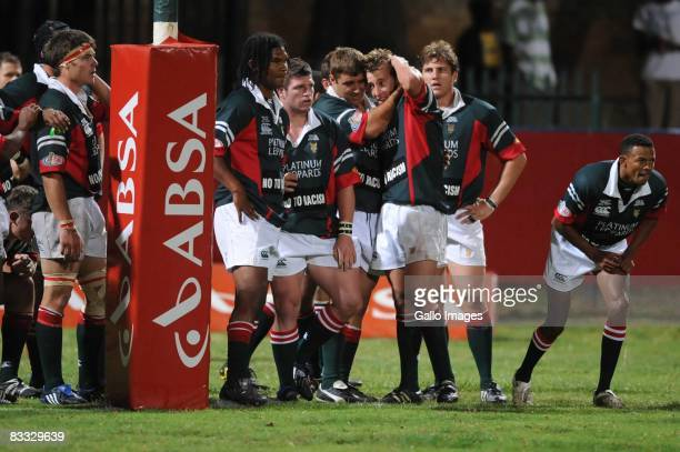 Platinum Leopards celebrate during the Absa Currie Cup Promotion and Relegation match between Valke and Platinum Leopards held at Bosman Stadium on...