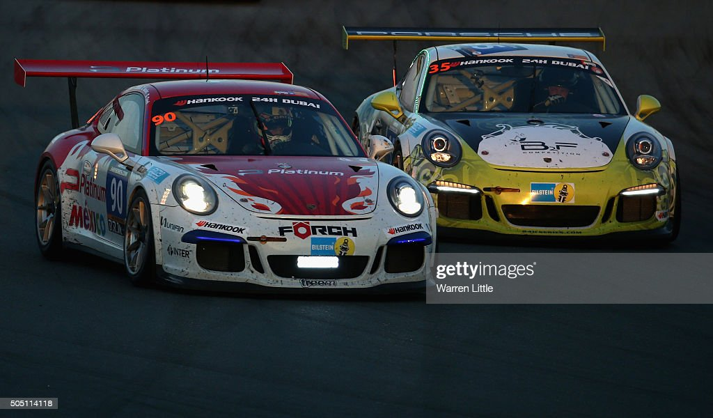 Platinum Racing, Porshce 991 Cup and #35 B2F Competition, Porshce 991 Cup race during the Hankook 24 Hours Dubai Race in the International Endurance Series at Dubai Autodrome on January 15, 2015 in Dubai, United Arab Emirates.