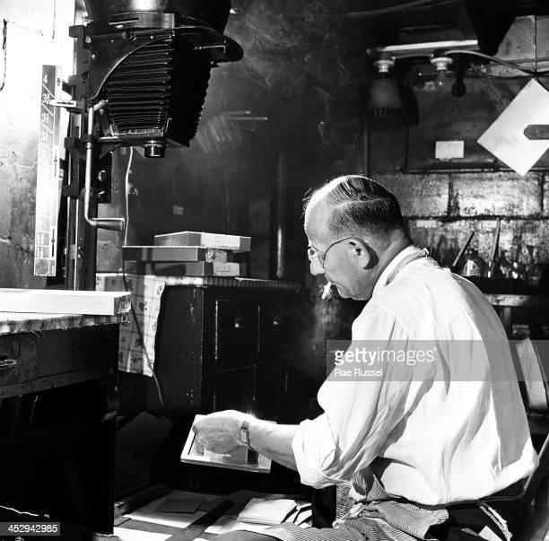 Platnick family among them US Army/Signal Corps photographer Ray Platnick with camera darkroom 1948