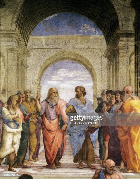Plato and Aristotle 15091511 detail from The School of Athens fresco by Raphael Stanza della Segnatura Apostolic Palace Vatican City