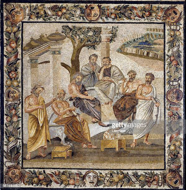 Plato's Academy the philosopher sitting in the middle teaching a group of disciples of the Academy of Athens Mosaic floor found at Boscotrecase...