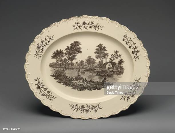 Platter, ca. 1780, British, Staffordshire, Creamware with transfer-printed decoration in black, Overall : 1 1/4 × 18 1/4 × 15 1/4 in. ,...