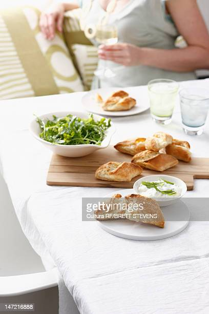 Platter of bread with dipping sauce