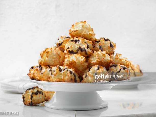 platter of coconut macaroons - coconut stock pictures, royalty-free photos & images