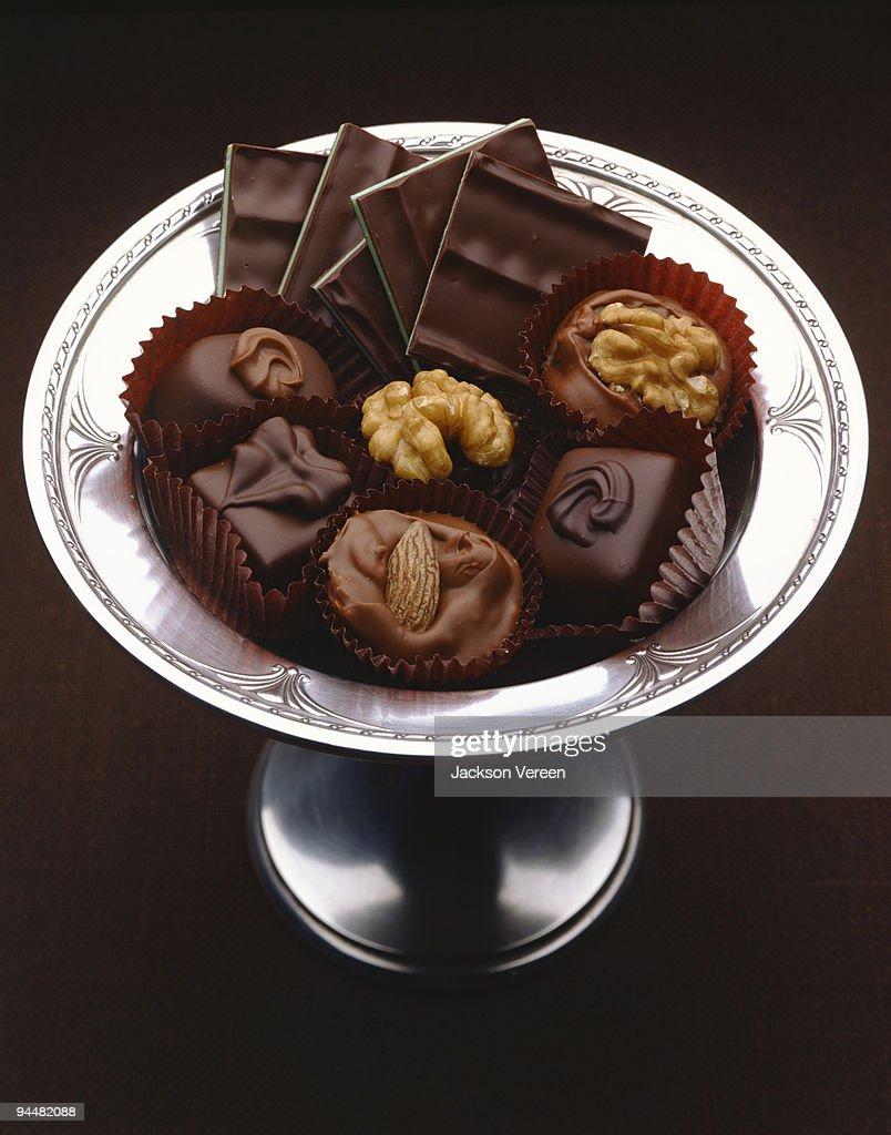 Platter of fancy chocolates : Stock Photo