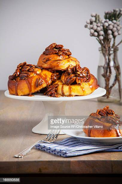 Platter of sticky buns on table