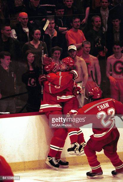 Plattsburg State University players celebrate a early goal during the 2001 NCAA Men's Ice Hockey Championship held at Ritter Memorial Arena in...