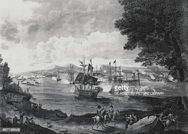 Plattsburgh naval battle on Lake Champlain American fleet commanded by Thomas Macdonough defeating the British fleet September 11 AngloAmerican war...