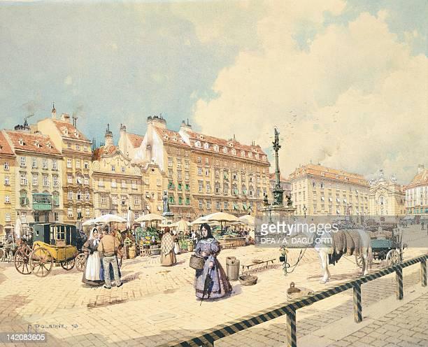 Platz am Hof in Vienna by Franz Poledne Austria 19th Century Watercolour