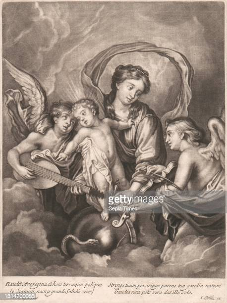 Plaudit Ave Regina, Print made by John Smith, 1652–1743, British, after Sir Anthony Van Dyck, 1599–1641, Flemish, active in Britain , undated,...