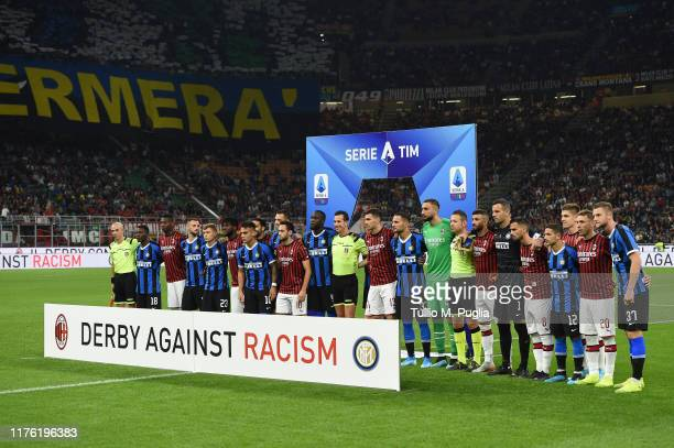 Plauers of Milan and Internazionale pose ahead of the Serie A match between AC Milan and FC Internazionale at Stadio Giuseppe Meazza on September 21...