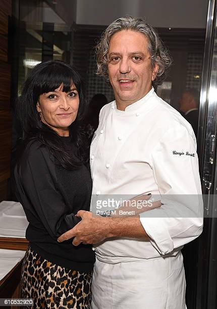 Plaxy Locatelli and Giorgio Locatelli attend the FilmAid Quiz Gala Night hosted by Harry Enfield and Jason Isaacs at Locanda Locatelli on September...