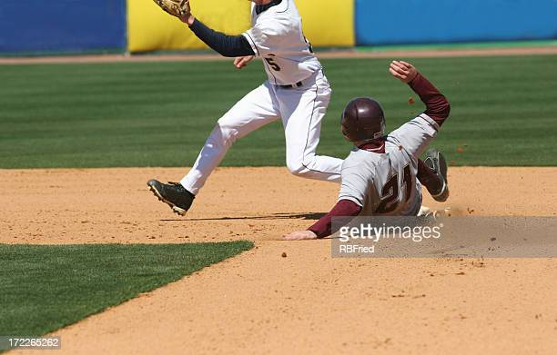play at second - baseball team stock pictures, royalty-free photos & images