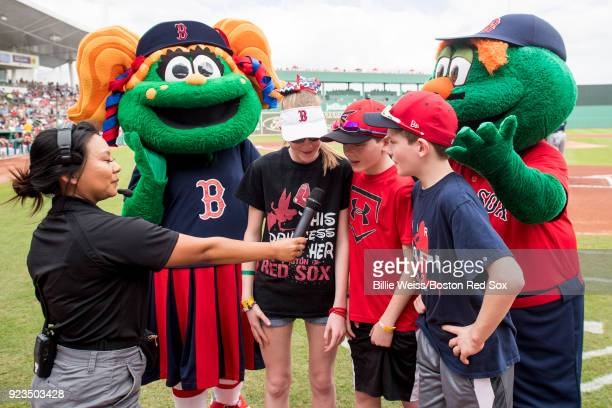 'Play Ball' is announced before a game between the Boston Red Sox and the Minnesota Twins at JetBlue Park at Fenway South on February 23 2018 in Fort...