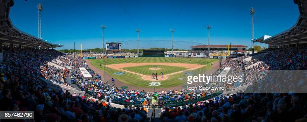Play begins in the 6th inning during the spring training baseball game between the New York Mets and Detroit Tigers on March 20 at Publix Field at...