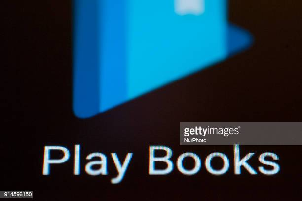 A Play Books icon is seen on an Android portable device on February 5 2018