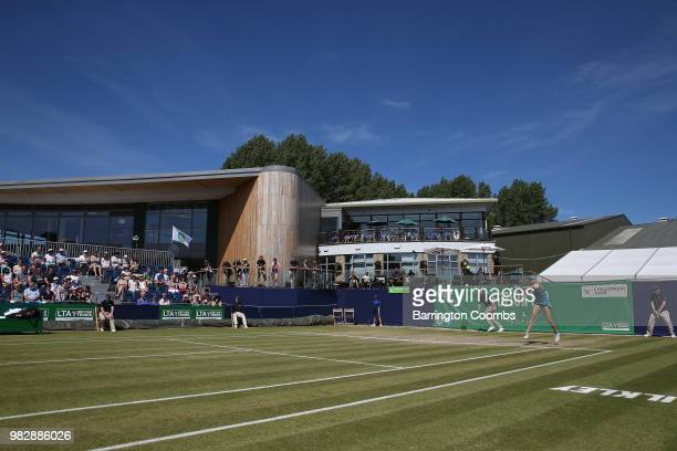 Play gets under way between Dayana Yastremska of the Ukraine and Tereza Smitkova of Czechoslovakia during the Women's final on day Eight of the...