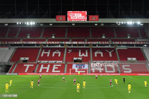 Play gets under way infront of the 'Ha' way the Lads' logo on the empty stand seating during the Sky Bet League One match between Sunderland and AFC...