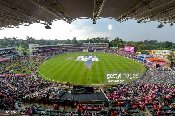 Play halted by rain during the 4th Momentum ODI match between South Africa and India at Bidvest Wanderers on February 10 2018 in Johannesburg South...