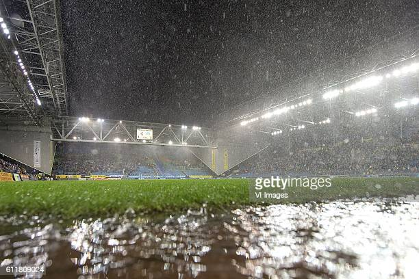 Play have been suspended because off rain and thunderduring the Dutch Eredivisie match between Vitesse Arnhem and FC Groningen at Gelredome on...