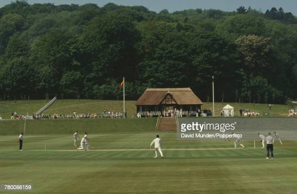 Play in progress during a charity match between the MCC and Sir Paul Getty's XI at Getty's new cricket ground on his Wormsley Park estate in...