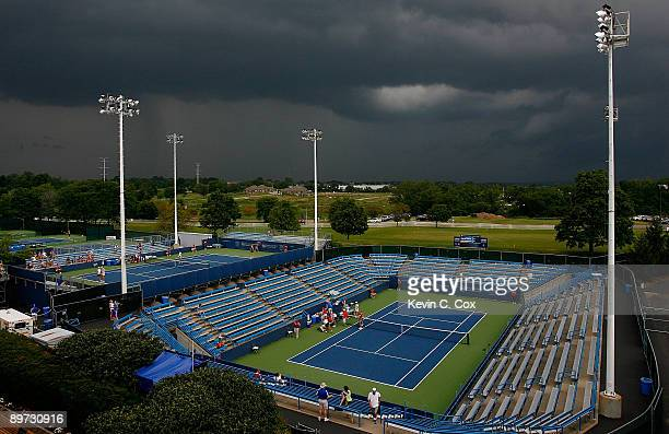Play is suspended as storms roll in during Day 1 of the Western Southern Financial Group Women's Open on August 10 2009 at the Lindner Family Tennis...