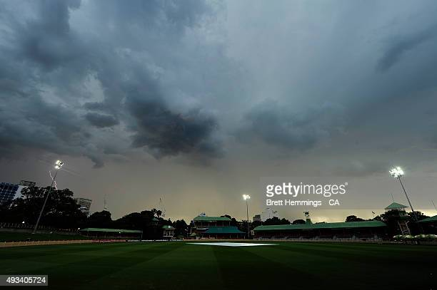Play is suspended due to bad weather during the Matador BBQs One Day Cup match between Tasmania and Victoria at North Sydney Oval on October 20 2015...