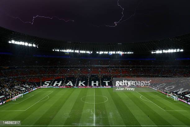 Play is suspended due to bad weather during the UEFA EURO 2012 group D match between Ukraine and France at Donbass Arena on June 15 2012 in Donetsk...