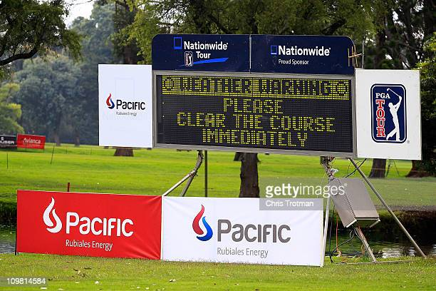 Play is suspended due to dangerous weather at the shortened Pacific Rubiales Bogota Open Presented by Samsung at Country Club de Bogota on March 6...