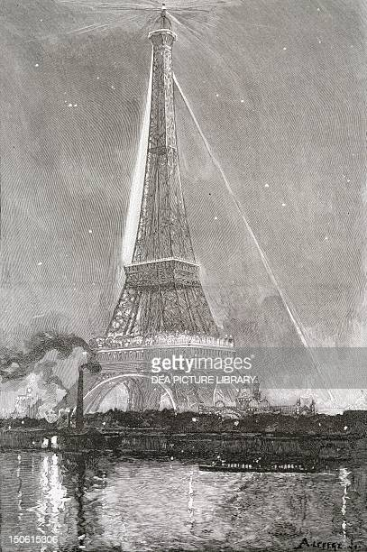 Play of light on the Eiffel Tower during the Paris World Exposition 1889 France 19th century