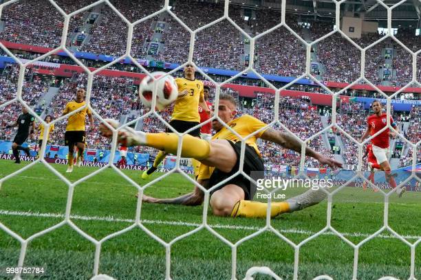 Play off for third place final FIFA World Cup Russia 2018 The decisive defensive tackle by Toby Alderweireld on Eric Dier shot at Saint Petersburg...