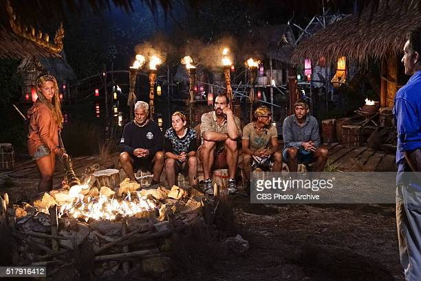 'Play or Go Home' Julia Sokolowski Joseph Del Campo Aubry Bracco Scot Pollard Tai Trang Peter Baggenstos and Jeff Probst at Tribal Council during the...