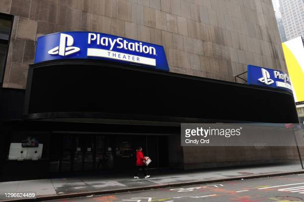 Play Station Theater in Times Square remains closed following restrictions imposed to slow the spread of coronavirus on January 15, 2021 in New York...