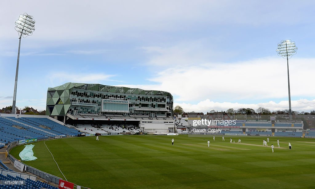 Play takes place under floodlights for the first time at Headingley in the County Championship during day three of the LV County Championship Division One match between Yorkshire and Warwickshire at Headingley on April 28, 2015 in Leeds, England.