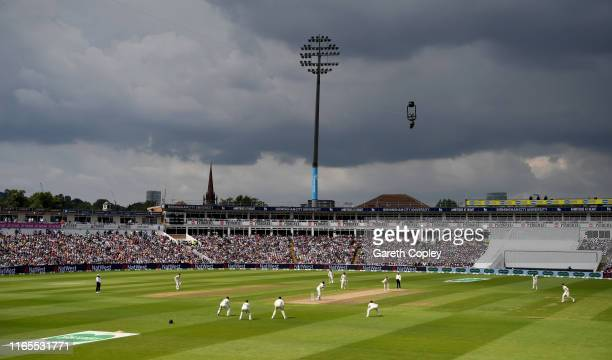 Play under dark skiesduring day one of the 1st Specsavers Ashes Test between England and Australia at Edgbaston on August 01, 2019 in Birmingham,...