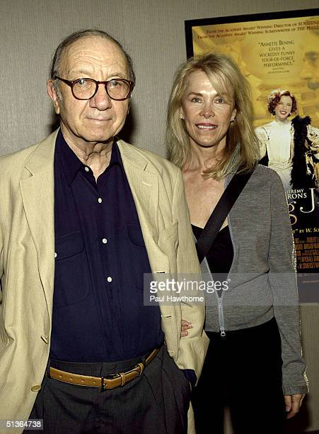 Play Wright Neil Simon and his wife Elaine Joyce attend a special screening of Being Julia at the Sony Screening Room in New York City New York on...