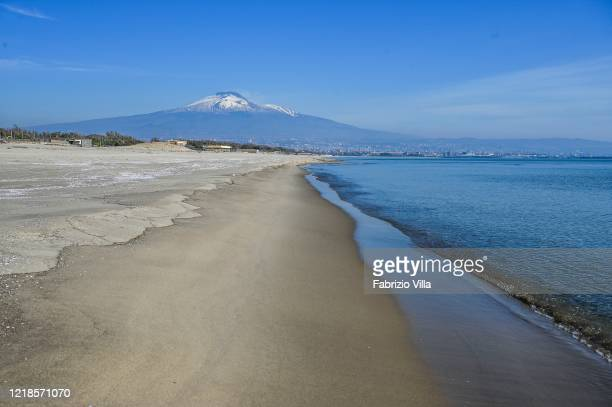 Playa beach empty on Easter Monday n April 13 2020 in Catania Italy The beach is usually very popular with the people of Catania on sunny days In the...