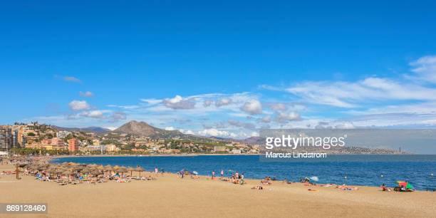 playa de la malagueta, malaga - costa del sol stock photos and pictures