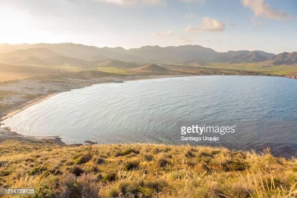 playa de los genoveses at sunset - アルメリア ストックフォトと画像