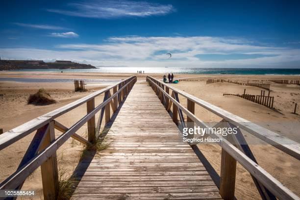 playa de los lances - tarifa stock photos and pictures