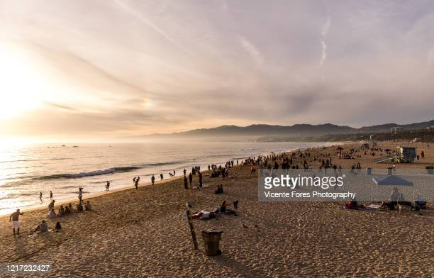 playa de santa monica - forens stock pictures, royalty-free photos & images